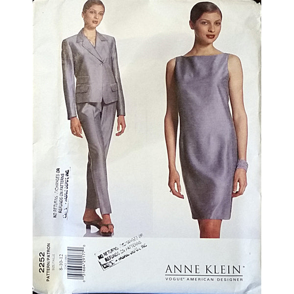 Miss Jacket Dress Pants Vogue 2252 Sewing Pattern Anne Klein Size 8 10 12 c1650