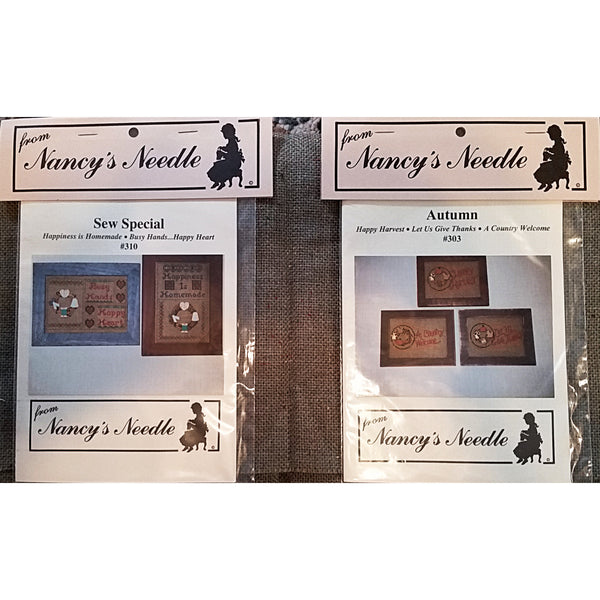Rustic Counted Cross Stitch Bundle Patterns Fabric Nancy's Needle Country c1706