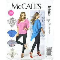 Misses Tops McCalls M6652 Sewing Pattern Loose Fitting Asymmetrical c1746