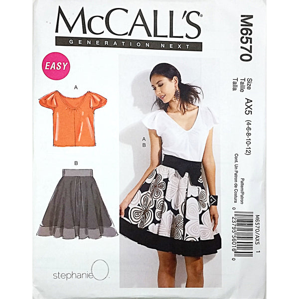 Misses Top Lined Skirt McCalls M6570 Sewing Pattern c1754