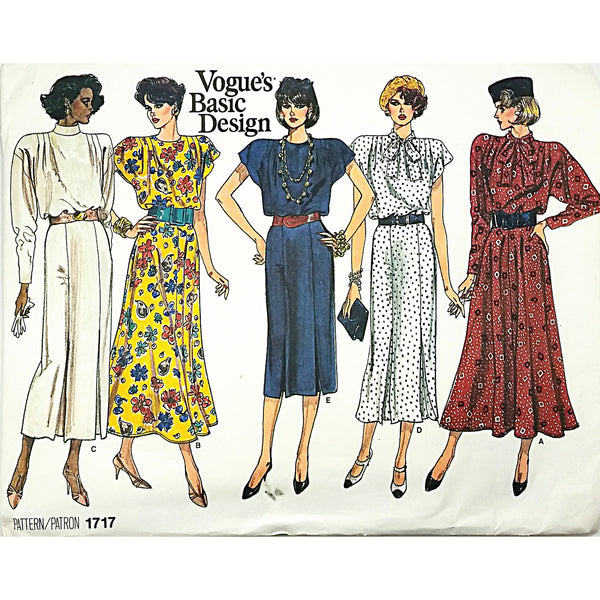 Misses Dress Vogue 1717 Sewing Pattern Vintage 1986 Basic Design 8 10 12 c1761