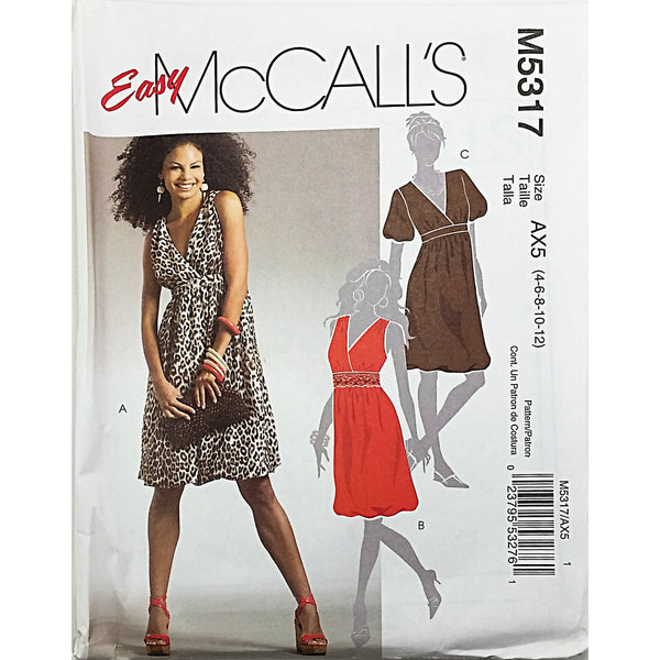 Misses Dress McCalls M5317 Sewing Pattern 2007 Sz 4 6 8 10 12 c1783