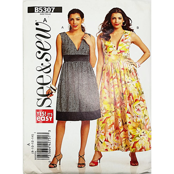 Misses Dress Butterick See Sew B5307 Sewing Pattern 2009 Size 8-14 c1791