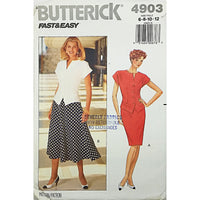 Misses Top Skirt Butterick 4903 Sewing Pattern Vintage 1990 Size 6 8 10 12 c1805