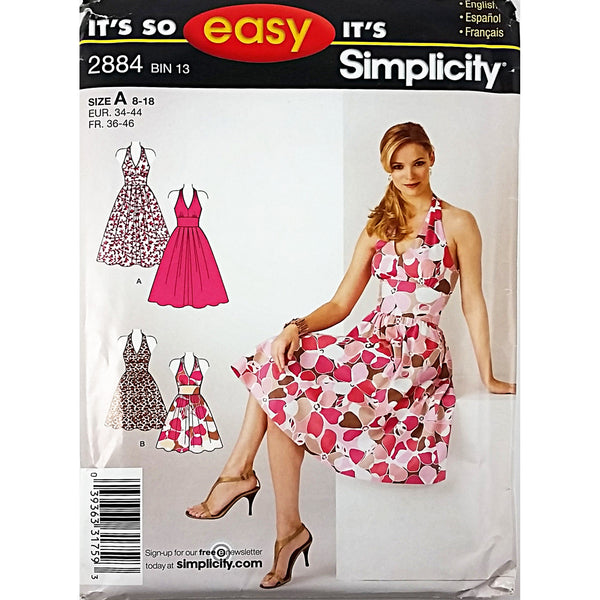 Misses Dress Two Lengths Simplicity 2884 Sewing Pattern 2008 8-18 c1811