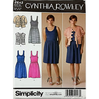 Misses Dress Jacket Vest Simplicity 2443 Sewing Pattern 2010 6-14 c1820
