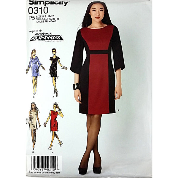 Misses Dress Variations Simplicity 0310 Sewing Pattern 2012 Size 12-20 c1826