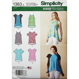 Misses Loose Fitting Top Simplicity 1363 Sewing Pattern 2014 Size XXS-XXL c1833