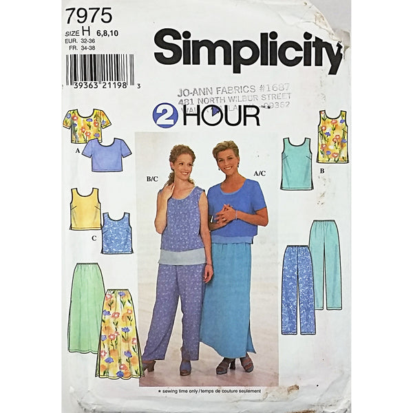 Misses Top Skirt Pants Simplicity 7975 Sewing Pattern Vintage 1997 6-10 c1844