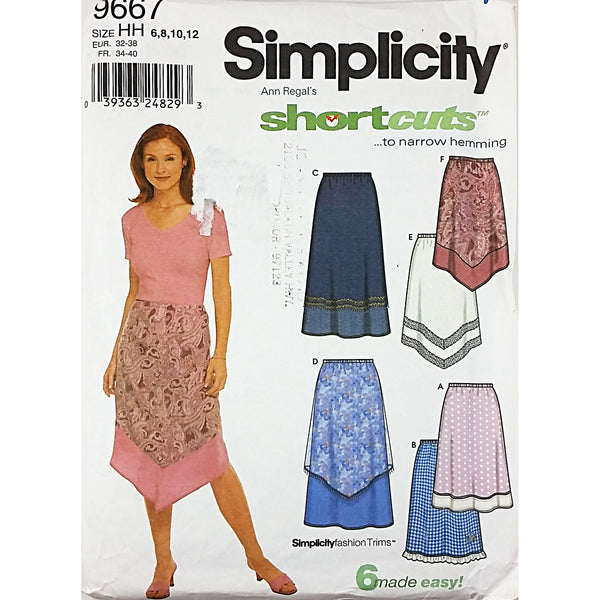Misses Skirts Simplicity 9667 Sewing Pattern Size 6-12 c1856