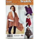 Misses Fleece Ponchos Wraps Simplicity S0344 Sewing Pattern One Size c1858