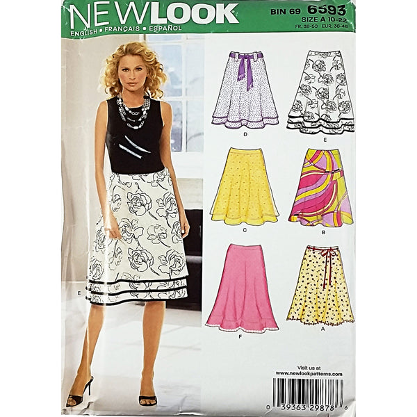 Misses Skirts New Look 6593 Sewing Pattern 2006 Size 10-22 c1876