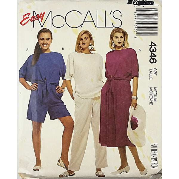 Misses Top Skirt Pants Shorts McCalls 4346 Sewing Pattern Size Medium c1888