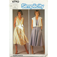 Misses Dress Jacket Simplicity 6790 Sewing Pattern Vintage 1985 Size 12-16 c1902