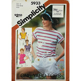 Misses Pullover Top Simplicity 5933 Sewing Pattern Vintage 1983 Size 12-16 c1904