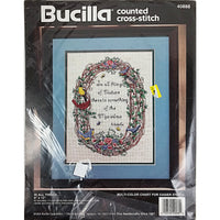 In All Things Counted Cross Stitch Kit 9x12 Bucilla 40888 Vintage 1994 c2143