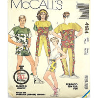 Miss Mens Top Pants Shorts McCalls 4184 Sewing Pattern 1989 Size Small c2261