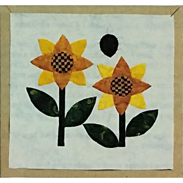 Sunflowers & Spider Quilt Block of the Month Pattern 9 inch Bugs & Blooms c2276