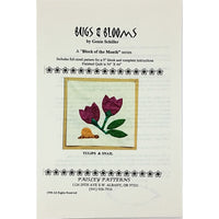 Tulips & Snail Quilt Block of the Month Pattern 9 inch Bugs & Blooms c2277