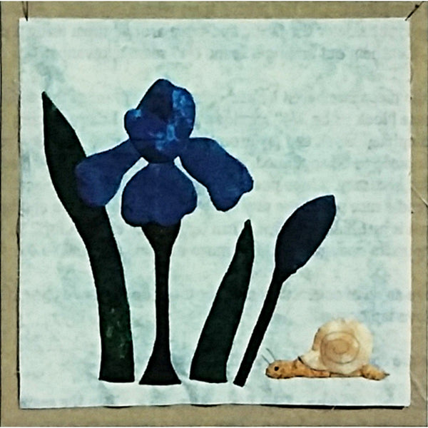 Iris & Snail Quilt Block of the Month Pattern 9 inch Bugs & Blooms c2280