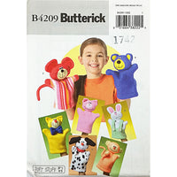 Hand Puppets Butterick B4209 Sewing Pattern 2004 Cat Dog Pig Monkey Bear c2285