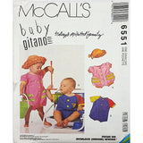 Infants Rompers Snap Crotch Hats McCalls 6551 Sewing Pattern 1993 S-XL c2307