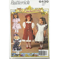 Childrens Overdress Dress Beret Butterick 6430 Sewing Pattern Size 2-4 c2308