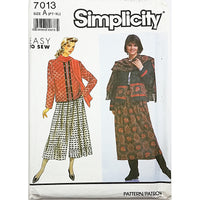 Misses Skirt Jacket Scarf Simplicity 7013 Sewing Pattern 1990 Size PT-XL c2323