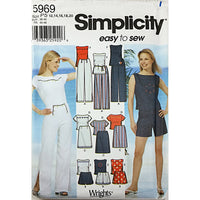 Miss Pants Shorts Skirt Top Simplicity 5969 Sewing Pattern 2002 Size 12-20 c2519
