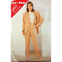 Misses Jacket Pants See & Sew 5533 Sewing Pattern Vintage 1986 Size 14-18 c2526