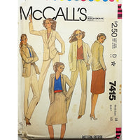 Misses Jacket Skirt Pants McCalls 7415 Sewing Pattern Vintage 1981 Size 18 c2532