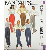 Juniors Pants McCalls 8193 Sewing Pattern Vintage 1982 Size 9-10 c2556
