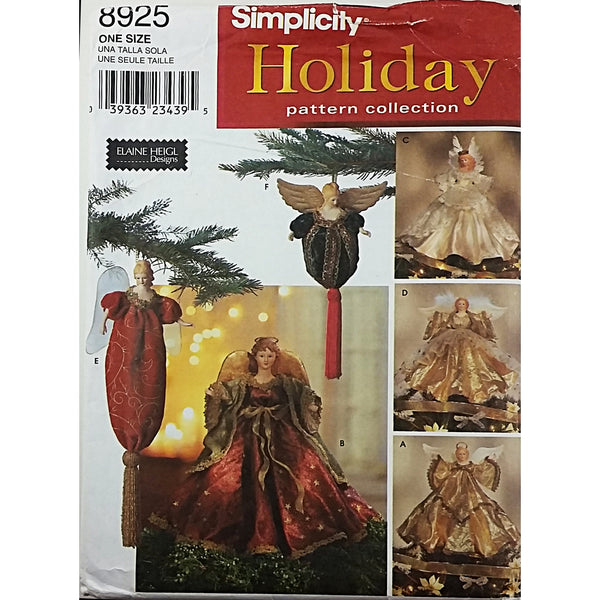 Angel Tree Toppers Simplicity 8925 Sewing Pattern Vintage 1999 c2559 ...