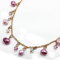 Pearl Crystal Drop Necklace Brown Green Pink Gold Tone cn01