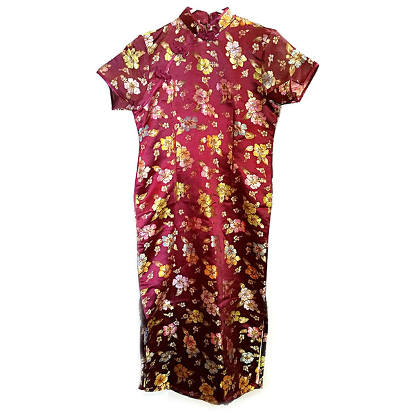 Ao Dai Silk Maroon Floral Vietnamese Dress Vietnam Asian Formal f142