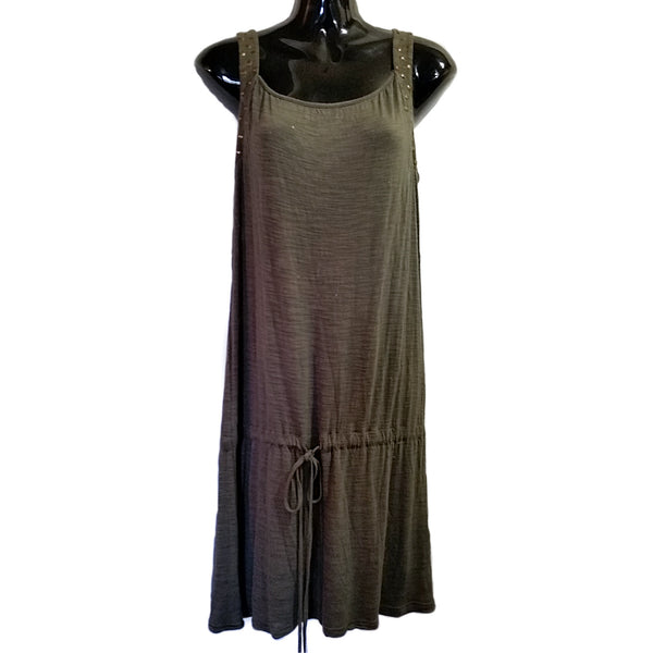 Olive Green Dress C C Couture Womens Small Studded Sleeveless Lined f226
