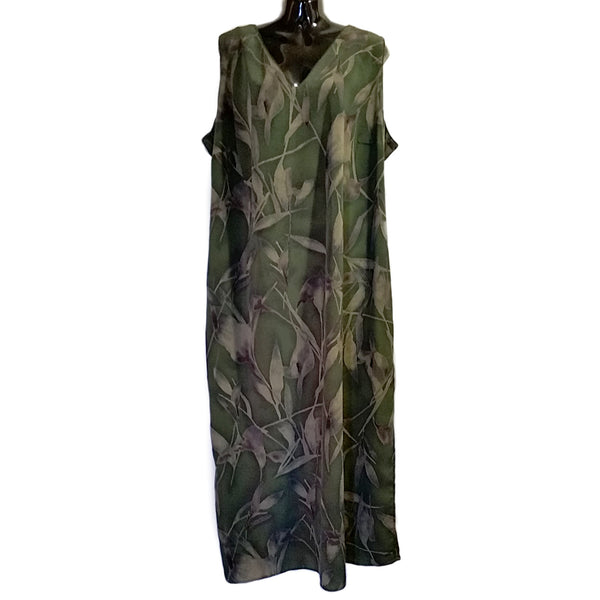 Olive Green Floral Dress Maggie Menaughton Womens 3X Sleeveless f227
