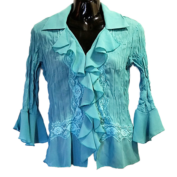 Teal Blue Ruffled Blouse Jaipur Top Romantic Womens Size S Lace 3/4 Sleeves f268