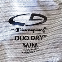 Striped Duo Dry Champion Mens M Gray Blue Long Sleeve Sport f356