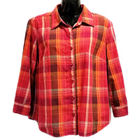 Plaid Top Christopher & Banks Womens Size M Button Up Shirt Pink Orange f409