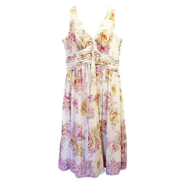 Pink Beige Floral Dress DressBarn Womens 10 Sleeveless Lined Rose f428