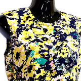 Yellow Floral Dress H&M Womens Size 6 Sleeveless Skater Cut Hem f495