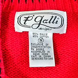 Red Western Embellished Cardigan Sweater P'Galli Womens Size S Cactus Boot f560