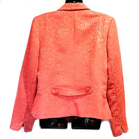 Salmon Brocade Jacket Emma James Womens Size 14 Button Up Career f562