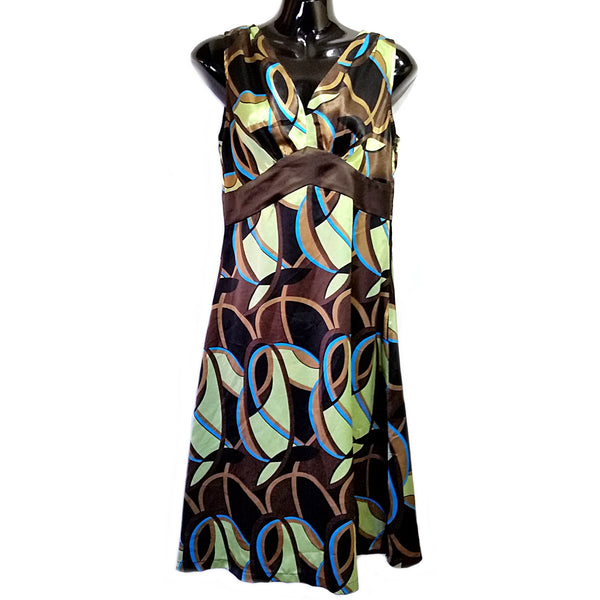 Silky Brown Green Blue Dress Orchids Womens Size S Sleeveless Nouveau f574