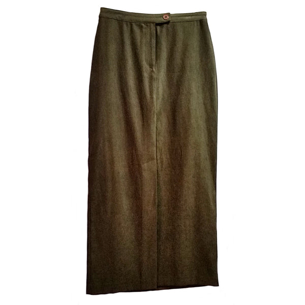 Olive Green Faux Suede Skirt Express Womens Size 5/6 Long Straight f598
