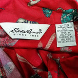 Red Winter Blouse Eddie Bauer Womens Size M Skis Hat Boots Sock Long Sleeve f606