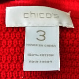 Red Textured Jacket Chicos Womens Size 3 Asymmetrical Zipper Gold Buttons f677