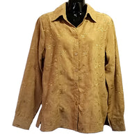 Tan Embroidered Faux Suede Blouse 1830 Womens Size M Long Sleeve Floral f736