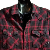 Red Black Plaid Shirt Vans Women Size S Skater Button Up Collar Long Sleeve f762